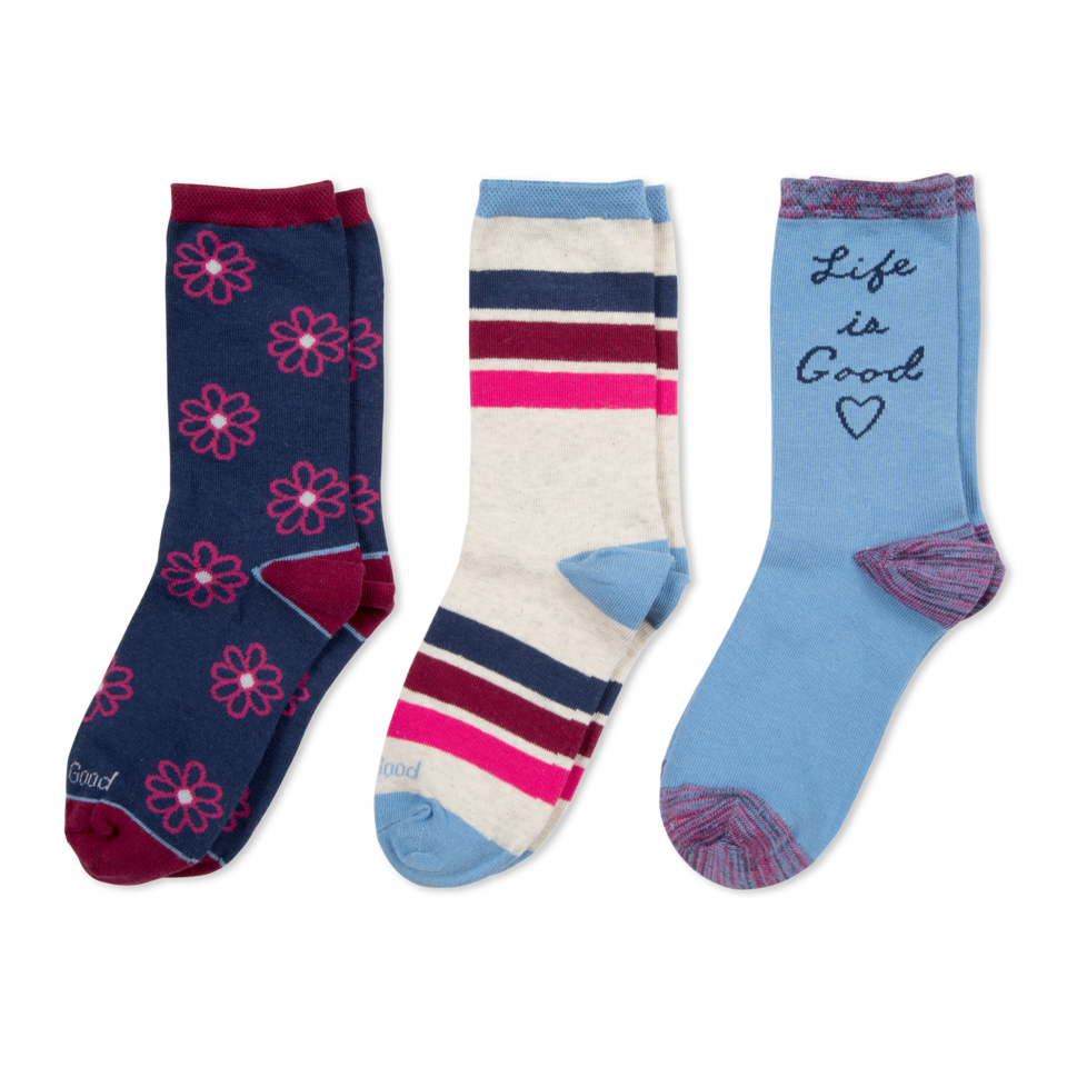 Our 3-pack, crew socks are great for multiple day wear, and for mixing and matching! They´ve also got a comfort toe and soft stretch welt for optimal wearability.