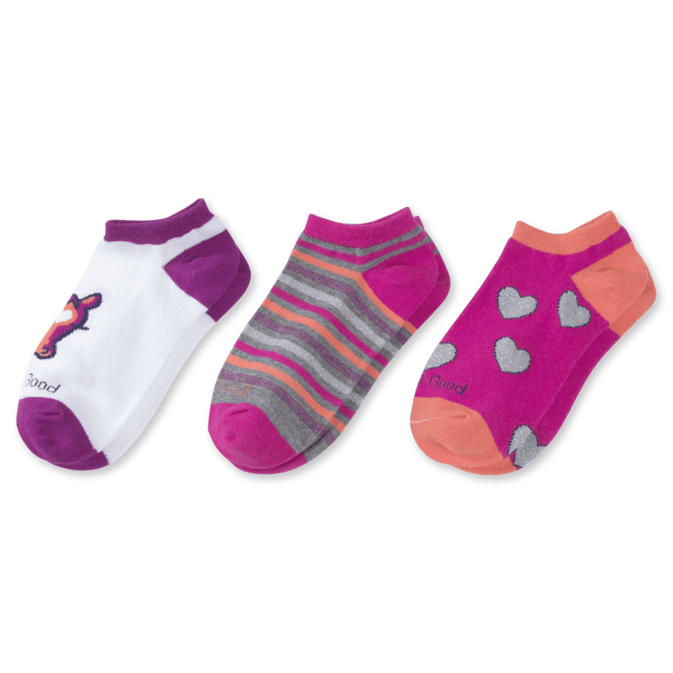 3-pack Girls Horse & Hearts Low Cut Socks
