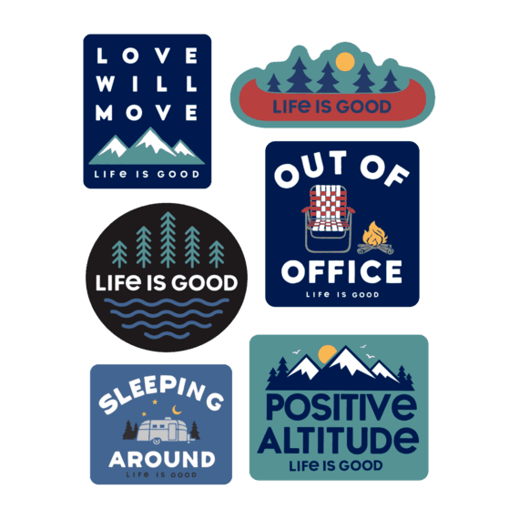 Life is Good Camp Pack Six-Pack Sticker Pack