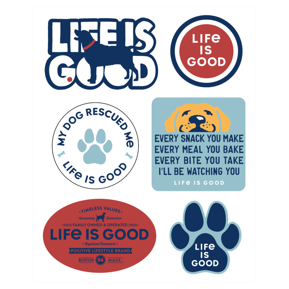Life is Good Dog Pack Six-Pack Sticker Pack OS Multi-Color