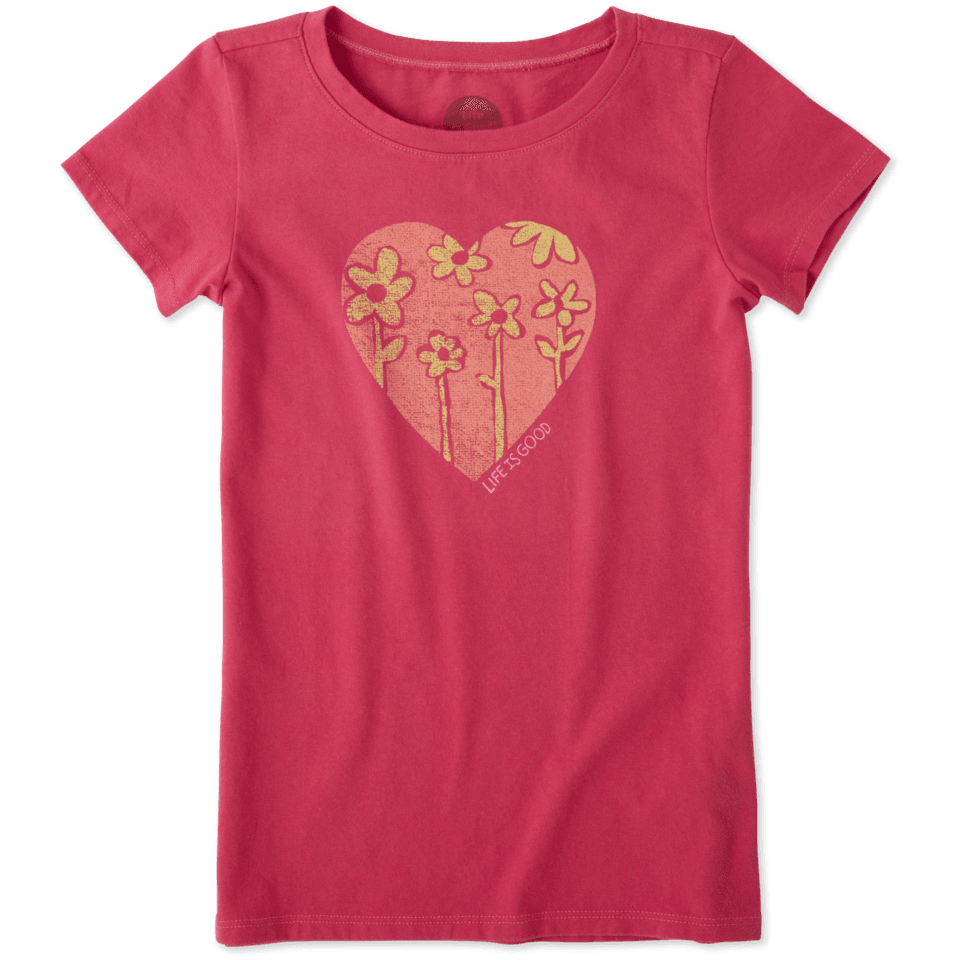 Girls Heart Flowers Crusher Tee