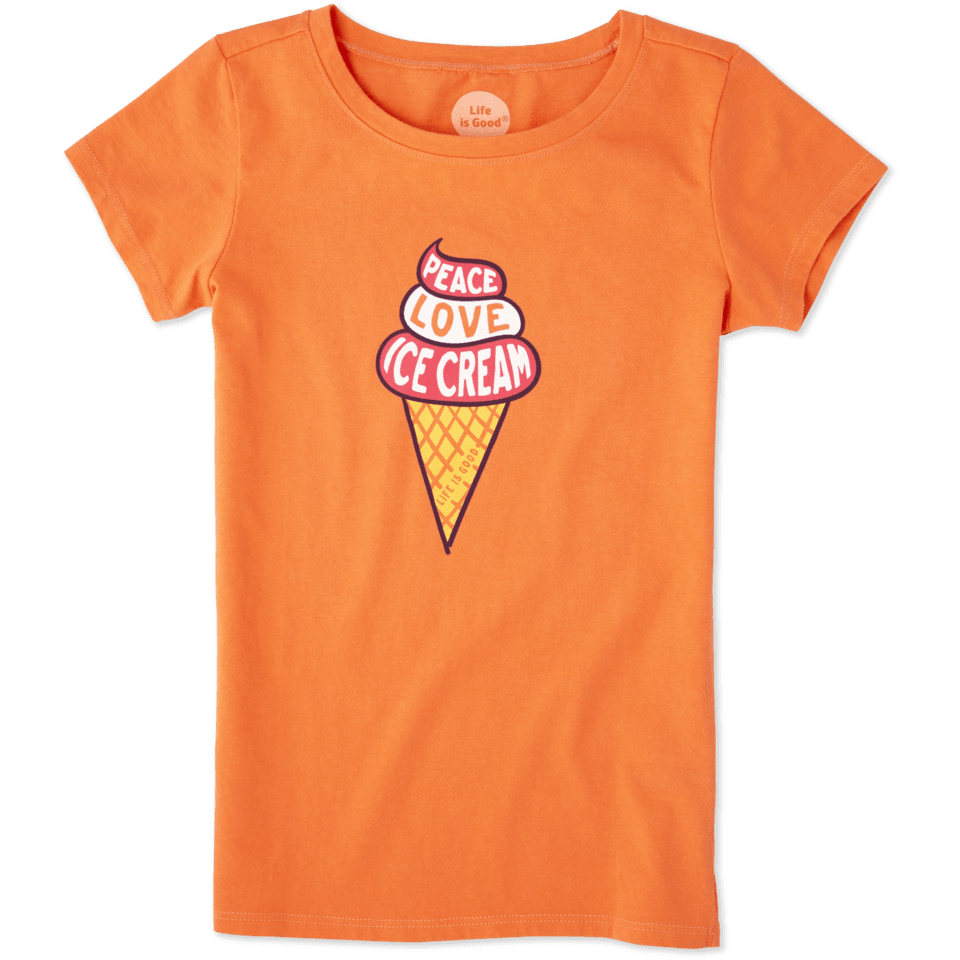 Girls Peace Love Ice Cream Crusher Tee