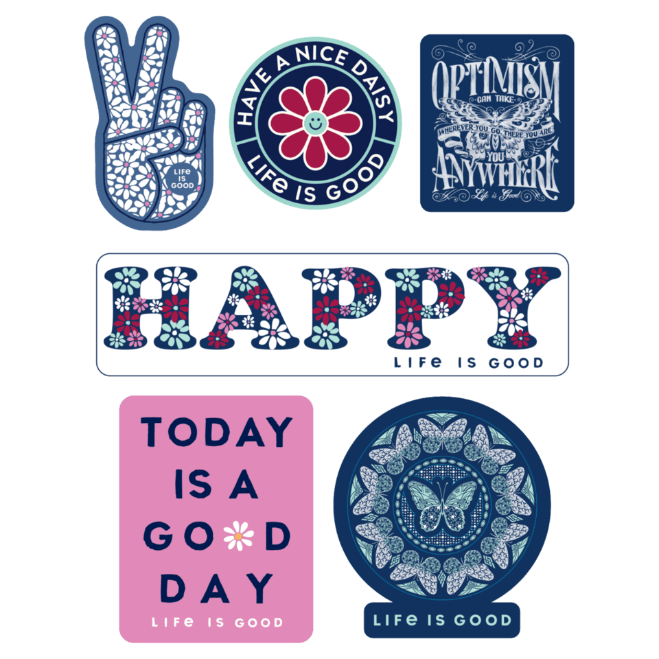 Life is Good Happy Pack Six-Pack Sticker Pack OS Multi-Color