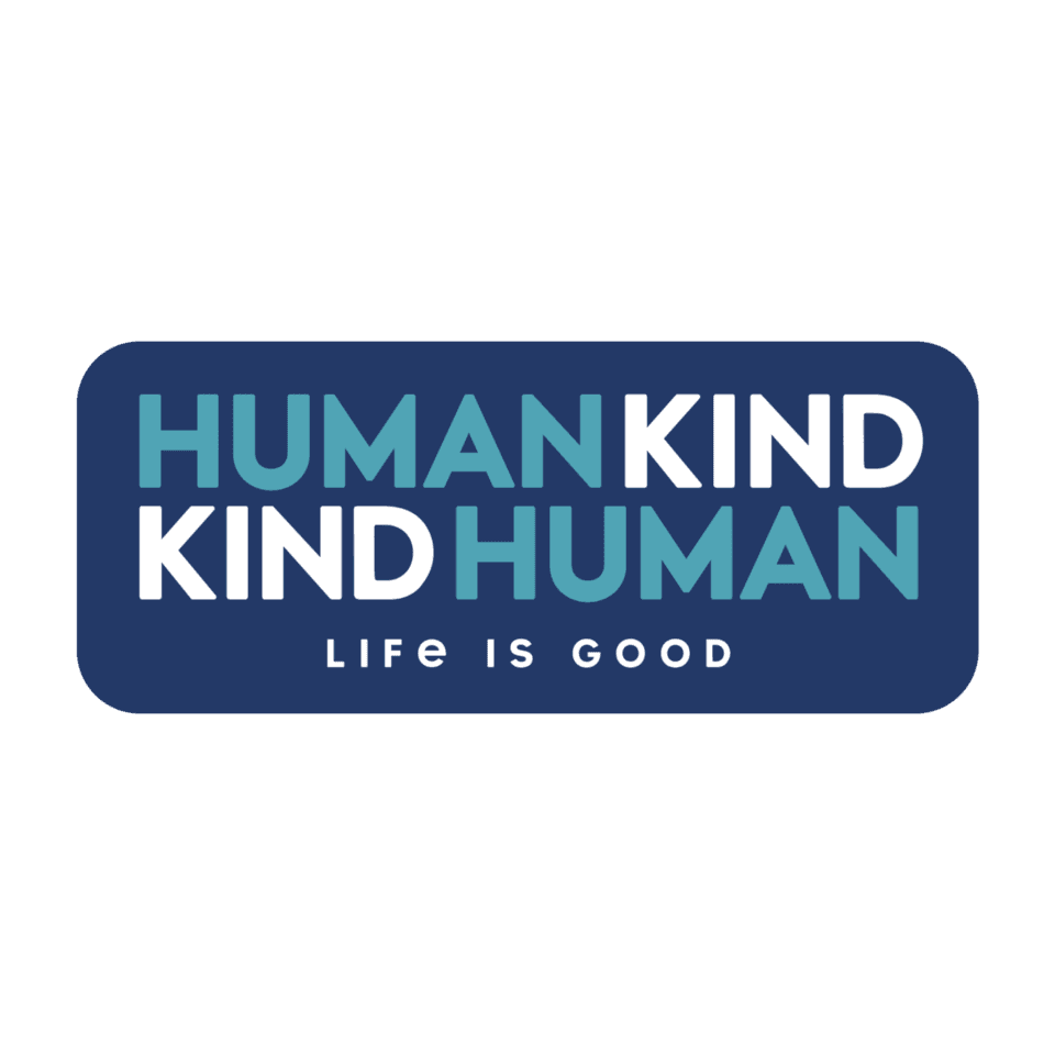 Life is Good Human Kind Die Cut Sticker OS Darkest Blue