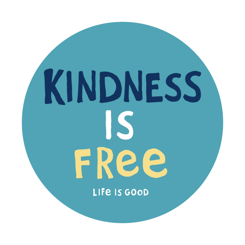 Life is Good Kindness Is Free 4-Circle Sticker OS Coastal Blue