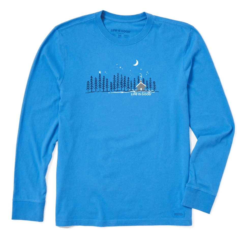 Life is Good Men's Cabin Landscape Long Sleeve Crusher Tee M Royal Blue