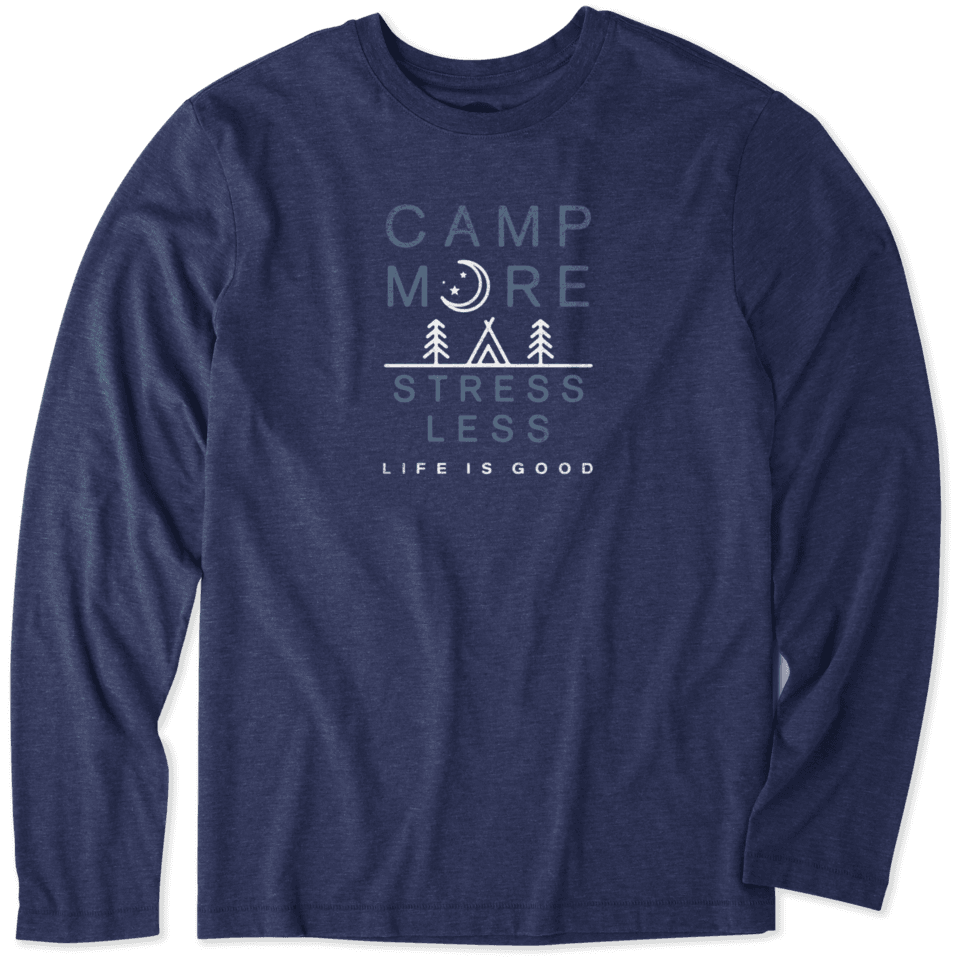 Life is Good Men's Camp More Long Sleeve Cool Tee S Darkest Blue