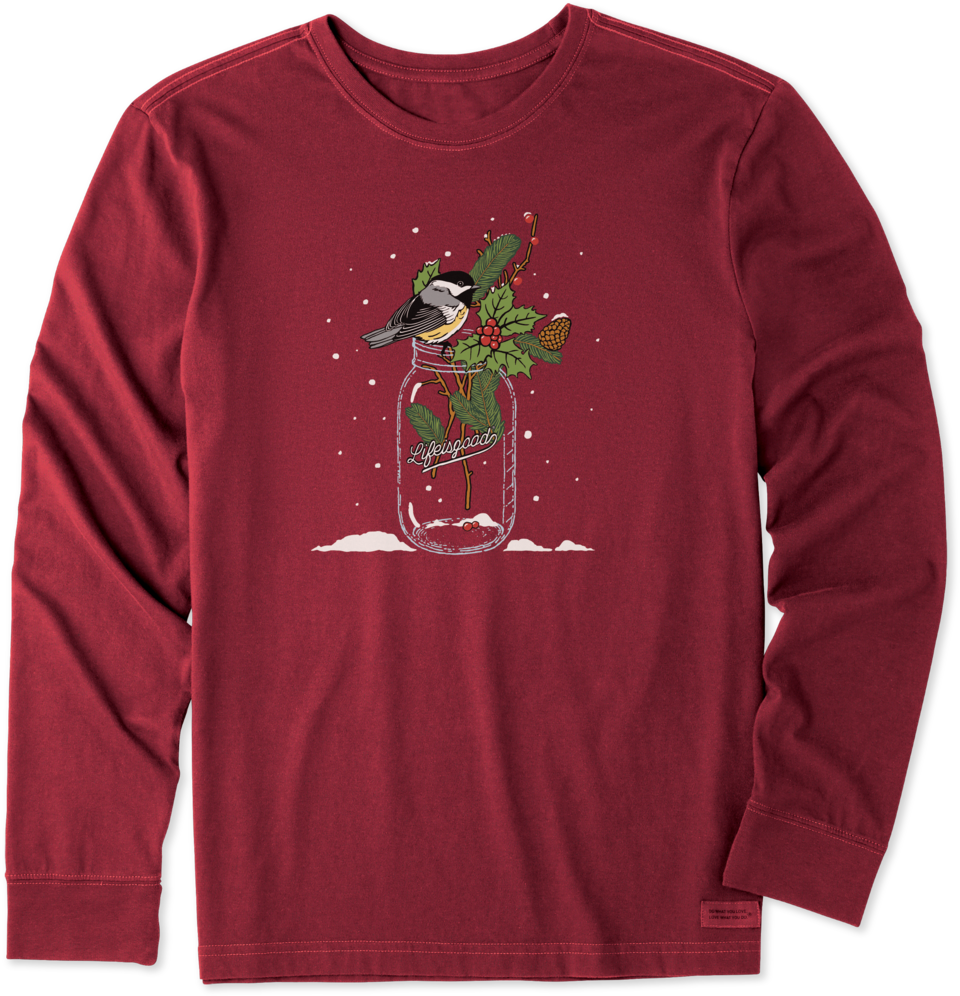 Life is Good Men's Chickadee Holiday Jar Long Sleeve Crusher Tee L Cranberry Red