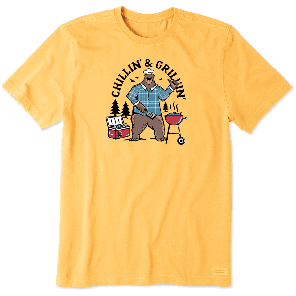 Life is Good Men's Chillin' & Grillin' Bear Crusher Tee L Baja Yellow