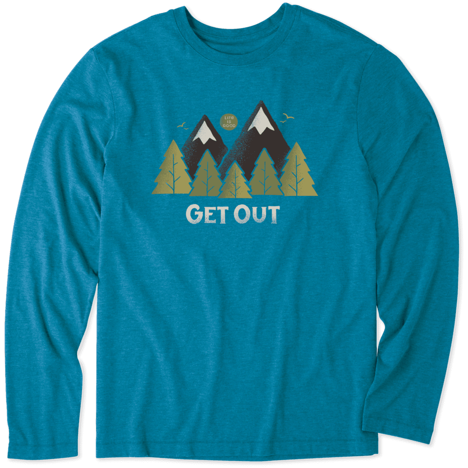 Life is Good Men's Get Out Long Sleeve Cool Tee M Persian Blue