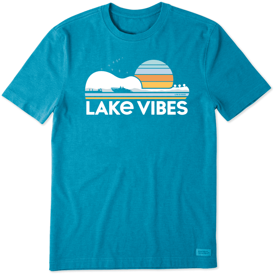 Life is Good Men's Guitar Lake Vibes Crusher Tee XXL Heather Seaport Blue