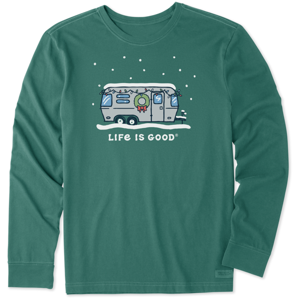 Life is Good Men's Holiday Camper Long Sleeve Crusher Tee XXL Spruce Green