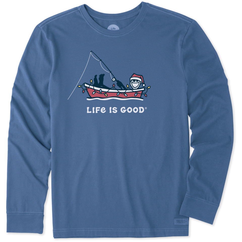 Life is Good Men's Jake Holiday Boat Long Sleeve Crusher Tee XL Vintage Blue