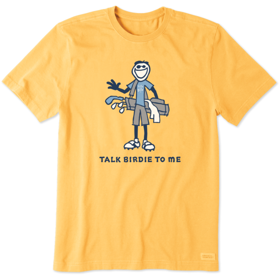 Life is Good Men's Jake Talk Birdie to Me Golf Crusher Short Sleeve T-Shirt in Baja Yellow Size 2XL | 100% Cotton