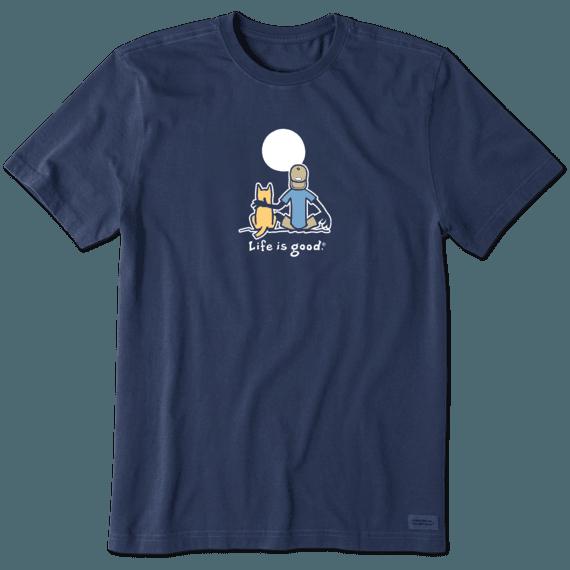 Life is Good Men's Jake and Rocket Moon Vintage Crusher Short Sleeve T-Shirt in Darkest Blue Size 2XL | 100% Cotton