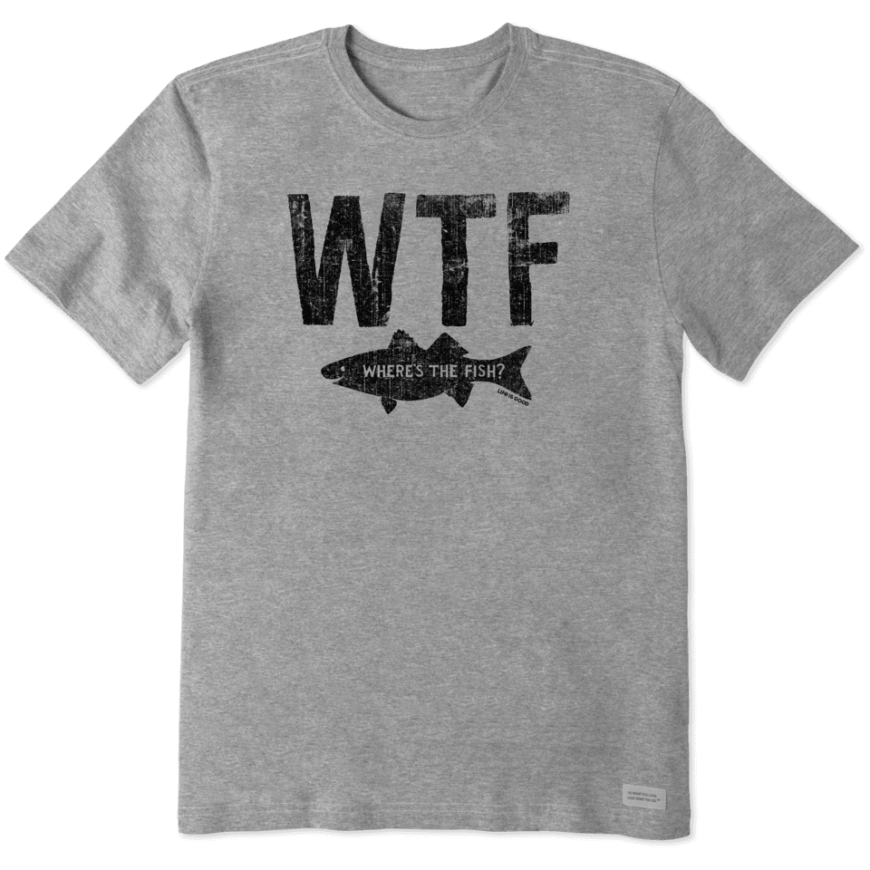 Life is Good Men's WTF Fish Crusher Tee XL Heather Gray