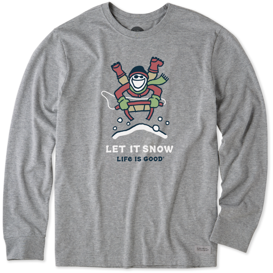 Life is Good Men's Let it Snow Jake Sled Long Sleeve Crusher Tee XL Heather Gray