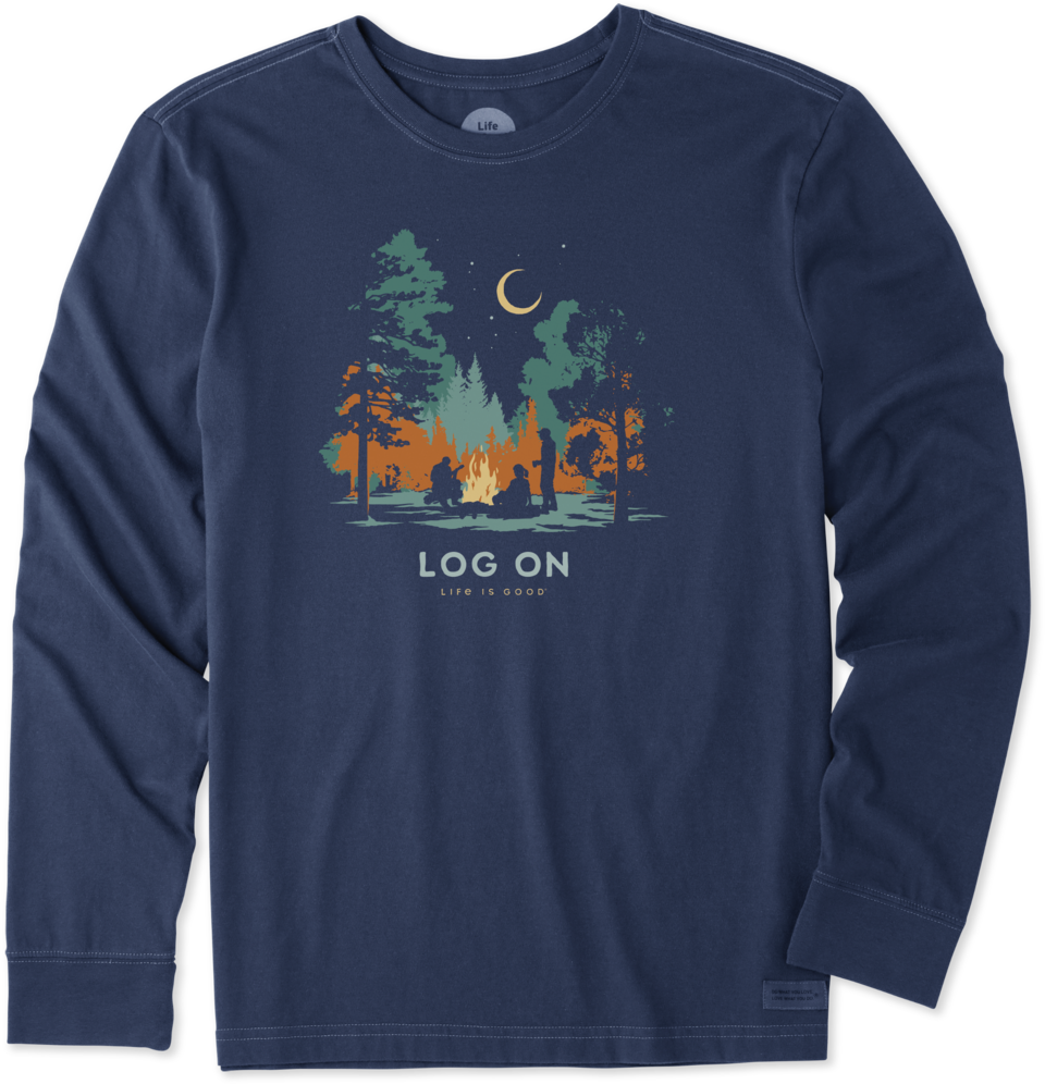 Life is Good Men's Log On Campfire Long Sleeve Crusher Tee S Darkest Blue