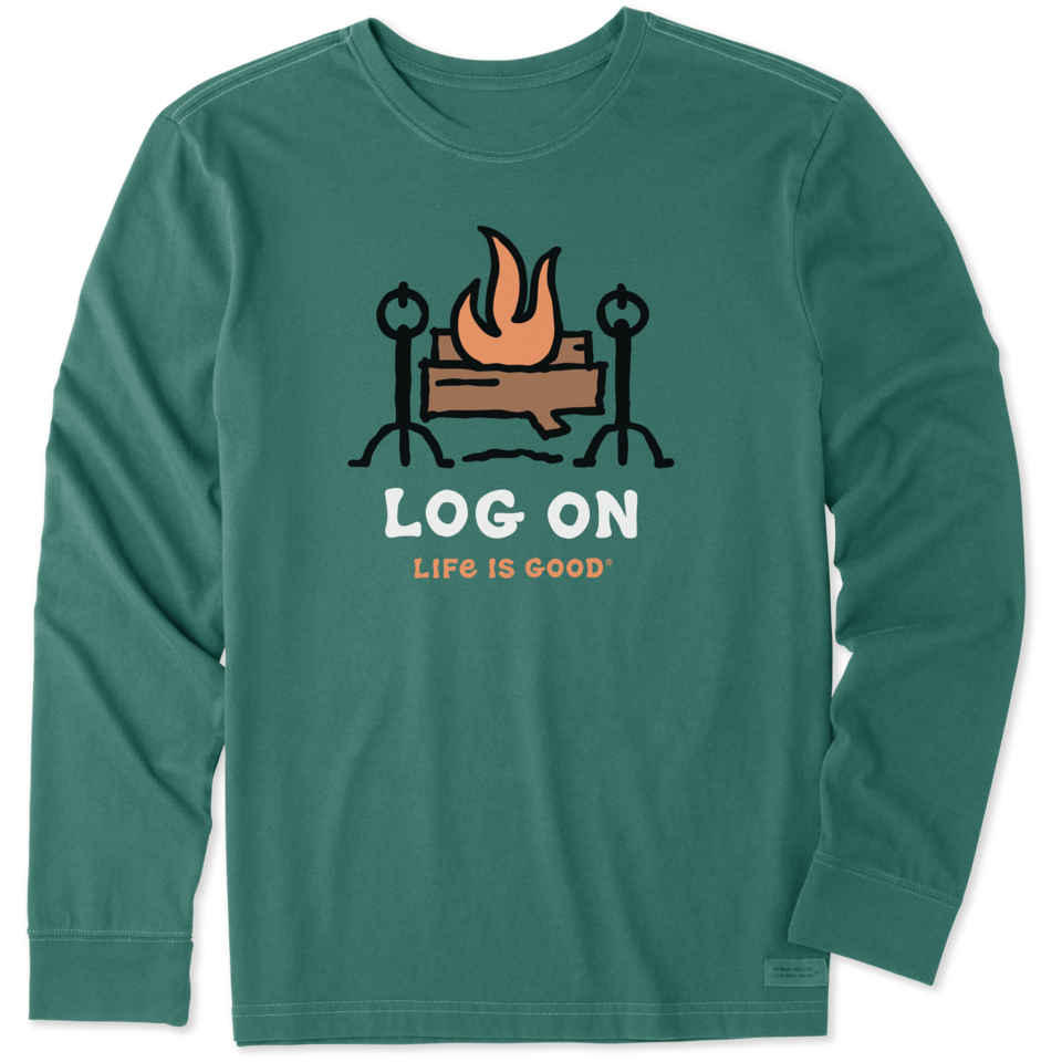 Life is Good Men's Log On Fireplace Long Sleeve Crusher Tee XXL Spruce Green