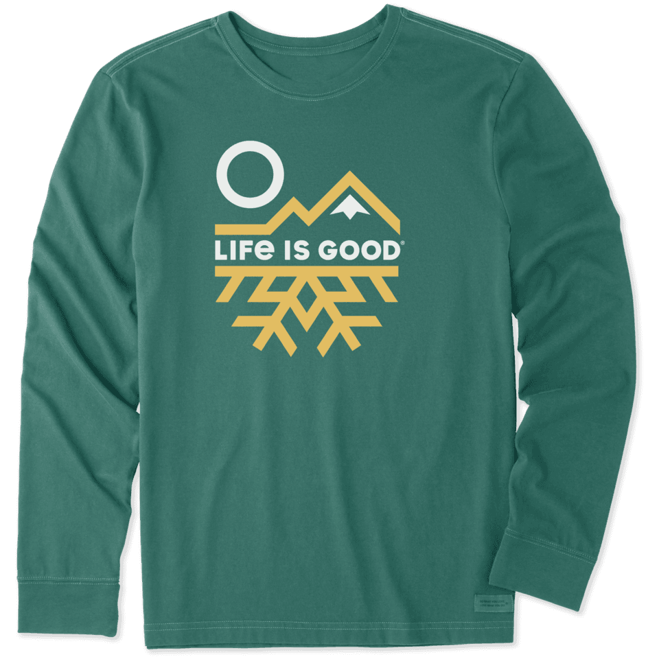 Life is Good Men's Mountain Flake Long Sleeve Crusher Tee M Spruce Green
