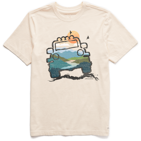Life is Good Men's Off Road Landscape Short Sleeve T-Shirt in Putty White Size Large | 100% Cotton