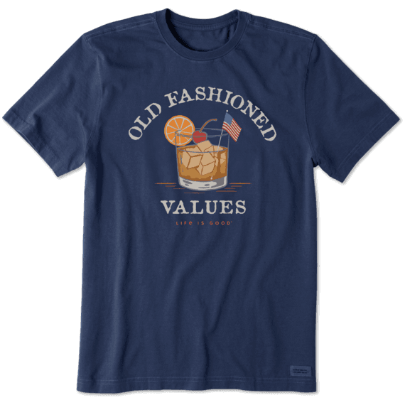 Life is Good Men's Old Fashioned American Values Short Sleeve T-Shirt in Darkest Blue Size Large | 100% Cotton