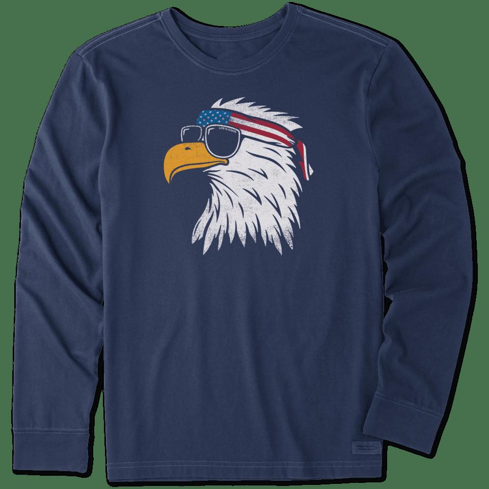 Life is Good Men's Patriotic Eagle Long Sleeve Crusher Tee XXXL Darkest Blue