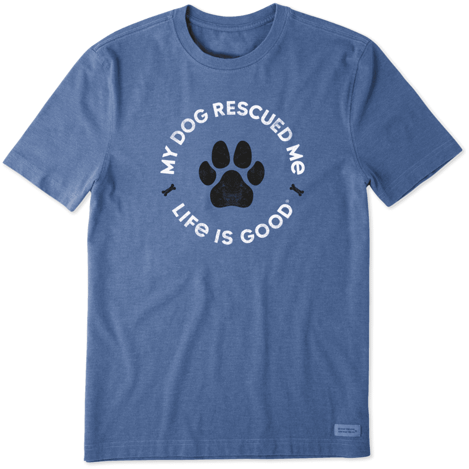 Life is Good Men's Rescue Bones Crusher Tee S Heather Vintage Blue