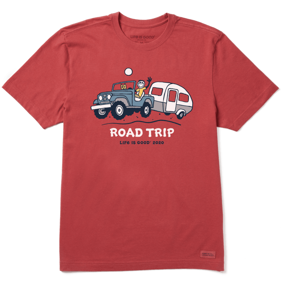 Life is Good Men's Road Trip Camper Crusher Tee XL Faded Red