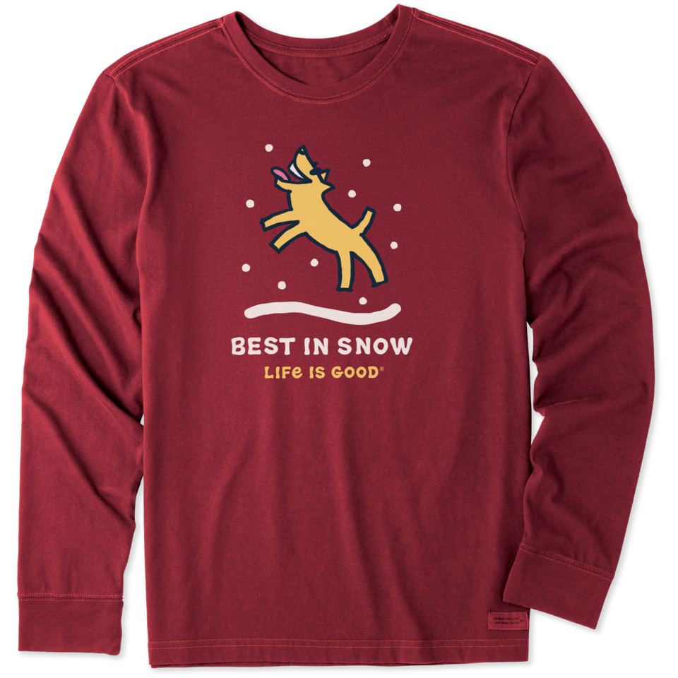Life is Good Men's Rocket Best in Snow Long Sleeve Crusher Tee S Cranberry Red