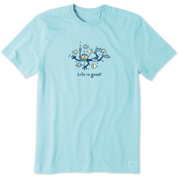 Life is Good Men's Snorkel Fish Vintage Crusher Short Sleeve T-Shirt in Beach Blue Size Small | 100% Cotton