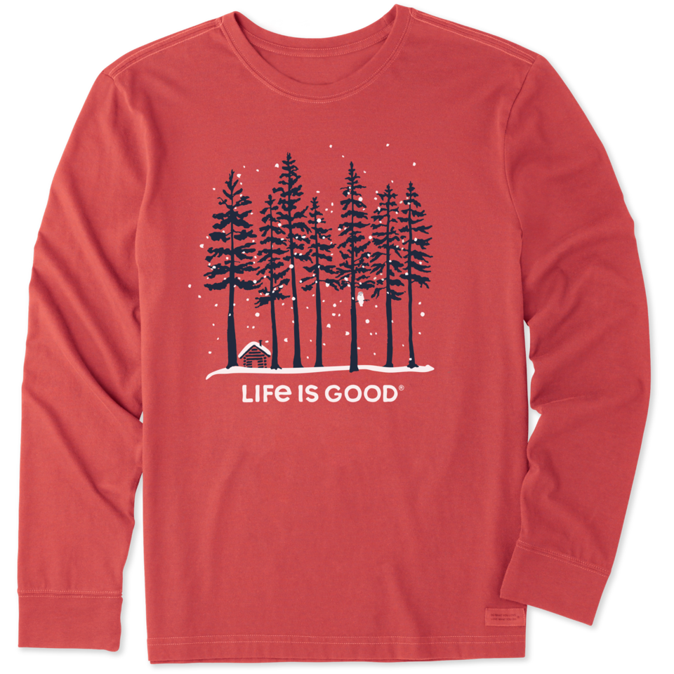 Life is Good Men's Snowy Owl Tall Pines Long Sleeve Crusher Tee S Faded Red