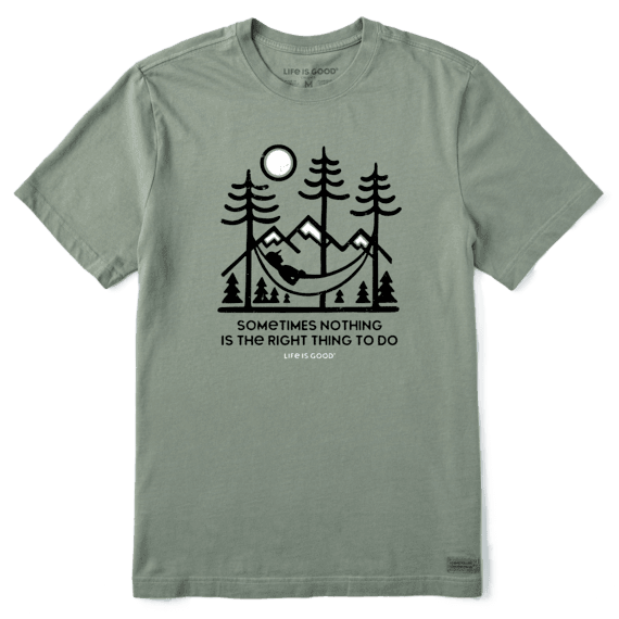 Life is Good Men's The Right Thing Short Sleeve T-Shirt in Moss Green Size 3XL | 100% Cotton