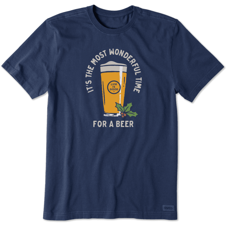 Life is Good Men's Time For A Beer Crusher Tee S Darkest Blue