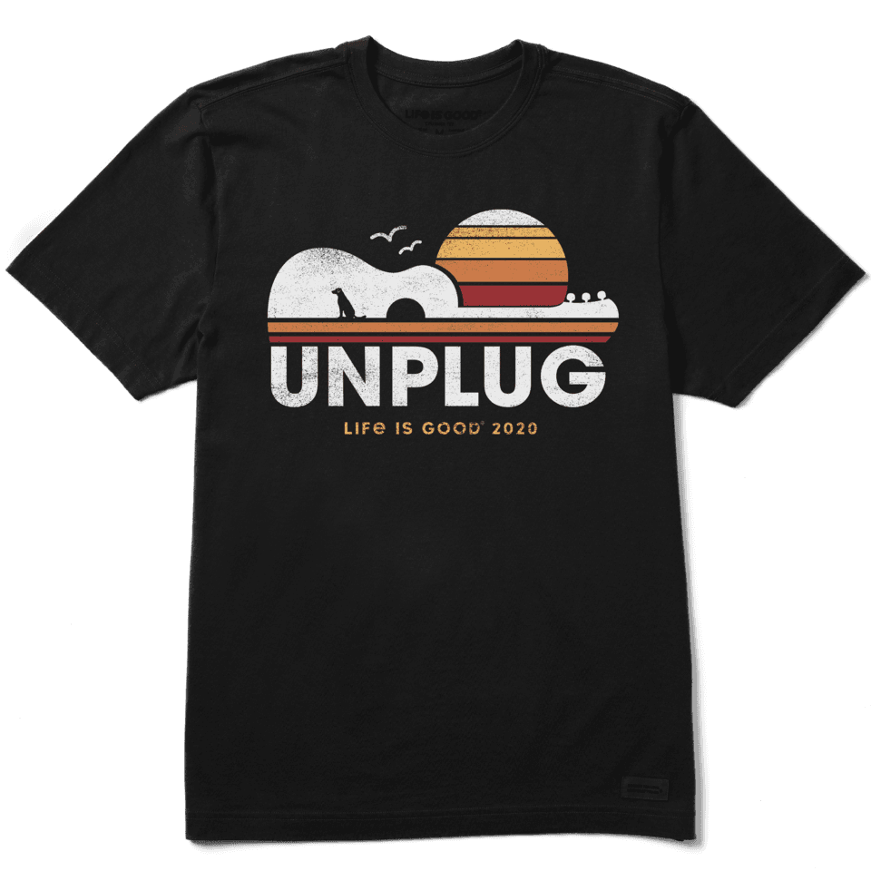 Life is Good Men's Unplug Guitarscape 2020 Crusher Tee L Jet Black