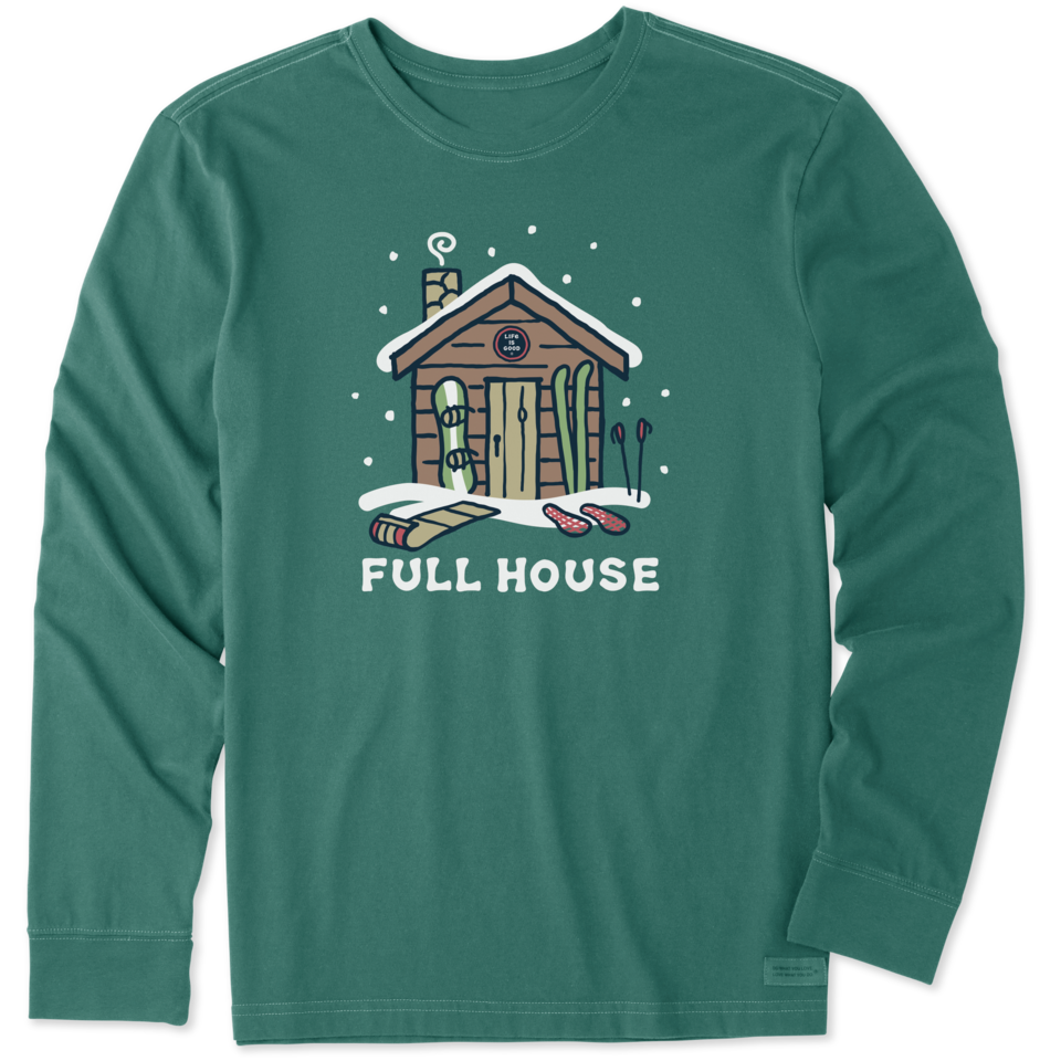 Life is Good Men's Winter Full House Coin Long Sleeve Crusher Tee XXL Spruce Green