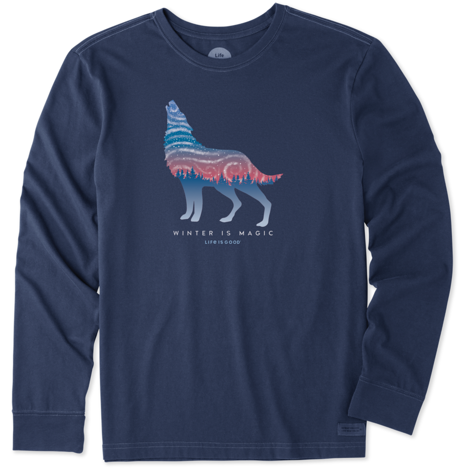 Life is Good Men's Winter Is Magic Wolf Long Sleeve Crusher Tee M Darkest Blue