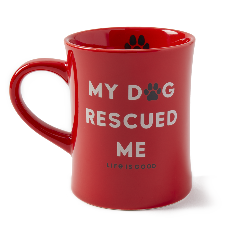Life is Good My Dog Rescued Me Diner Mug OS Faded Red