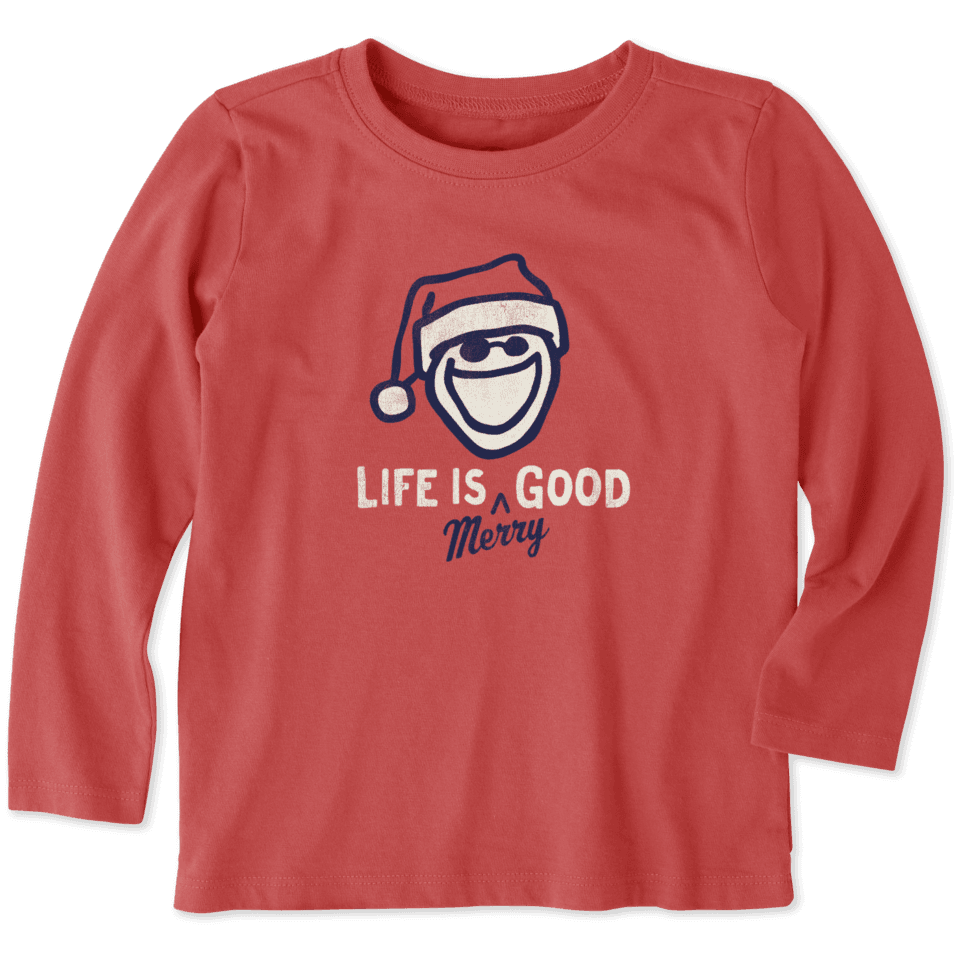 Toddlers Life Is Merry Good Long Sleeve Crusher Tee