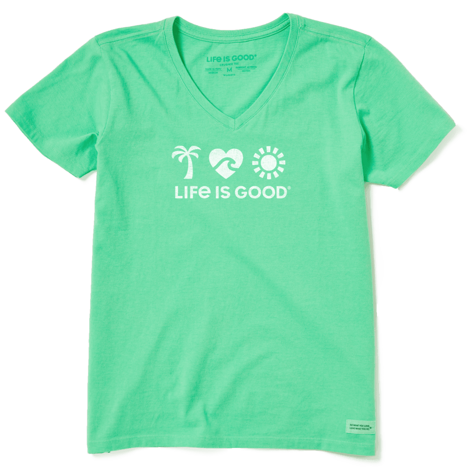 Life is Good Women's Beach Elements Cool Vee XS Spearmint Green