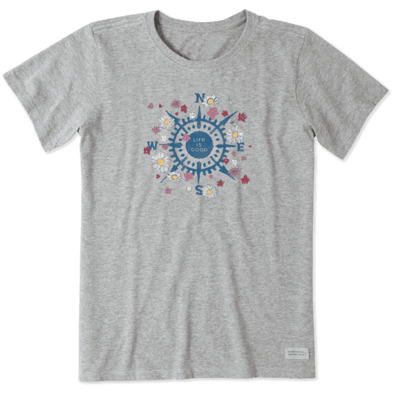 Life is Good Women's Beauty In All Directions Crusher Short Sleeve T-Shirt in Heather Grey Size 3XL | Cotton Blend