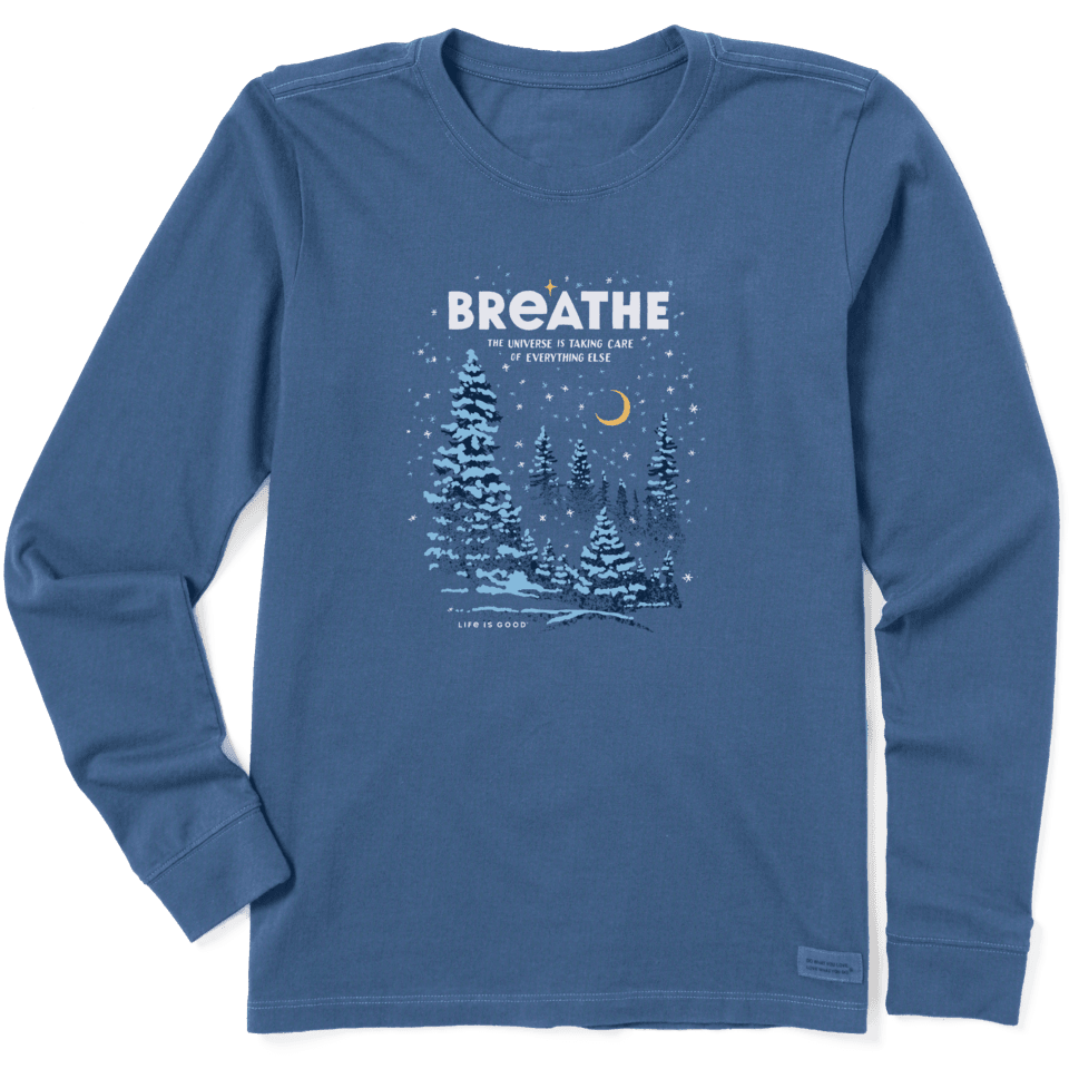Life is Good Women's Breathe Universe Winter Long Sleeve Crusher Tee XL Vintage Blue