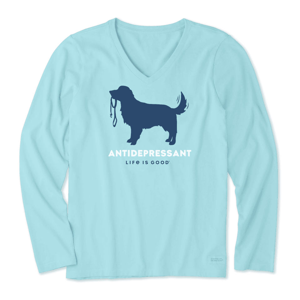 Life is Good Women's Canine Antidepressant Long Sleeve Crusher Vee L Beach Blue