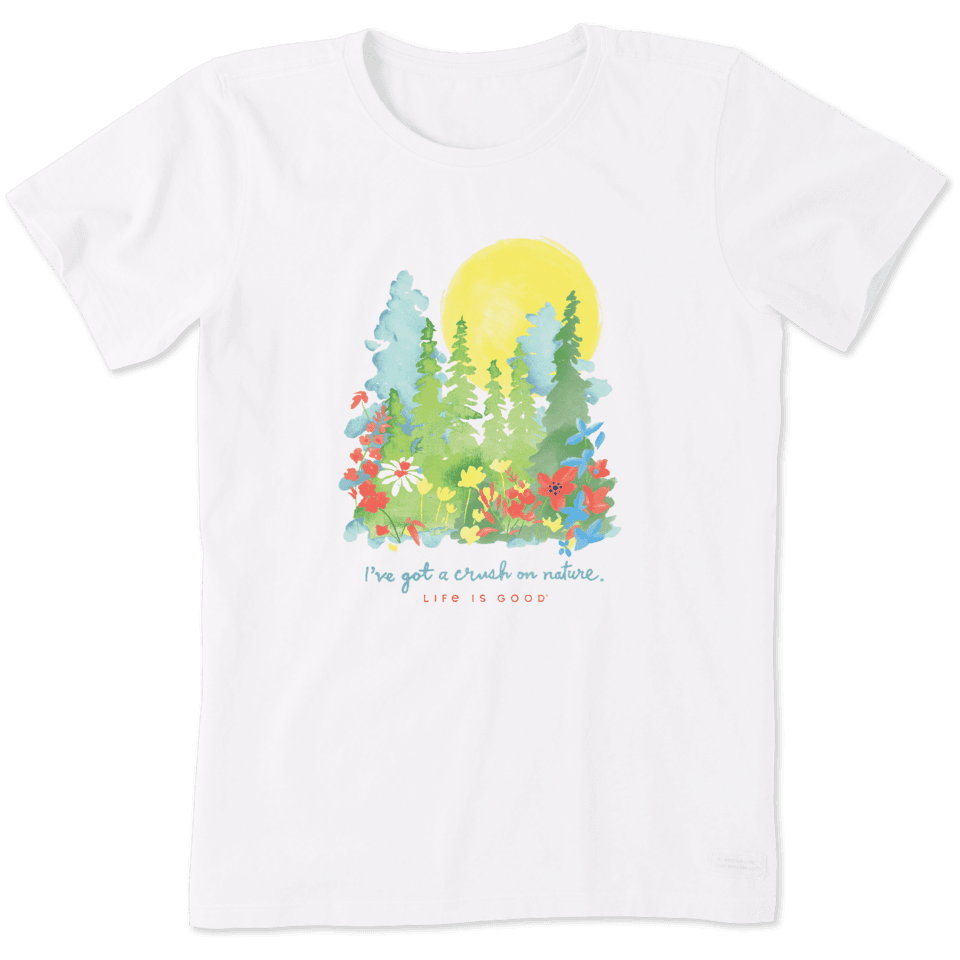 Life is Good Women's Crush On Nature Wildflowers Crusher Tee L Cloud White