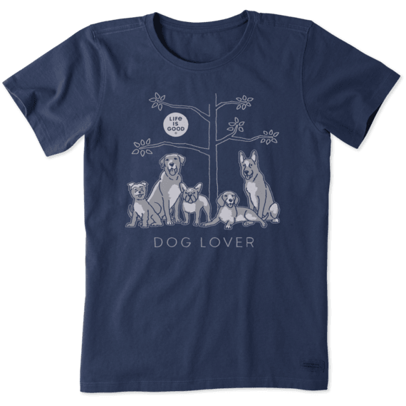Life is Good Women's Dog Lover Tree Crusher Short Sleeve T-Shirt in Darkest Blue Size XS | 100% Cotton