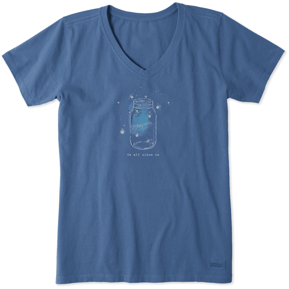 Life is Good Women's Fireflies Shine On Crusher Vee L Vintage Blue