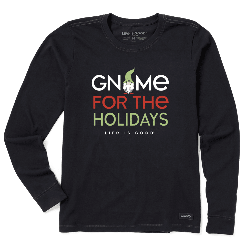 Life is Good Women's Gnome For The Holidays Long Sleeve Crusher Tee M Jet Black
