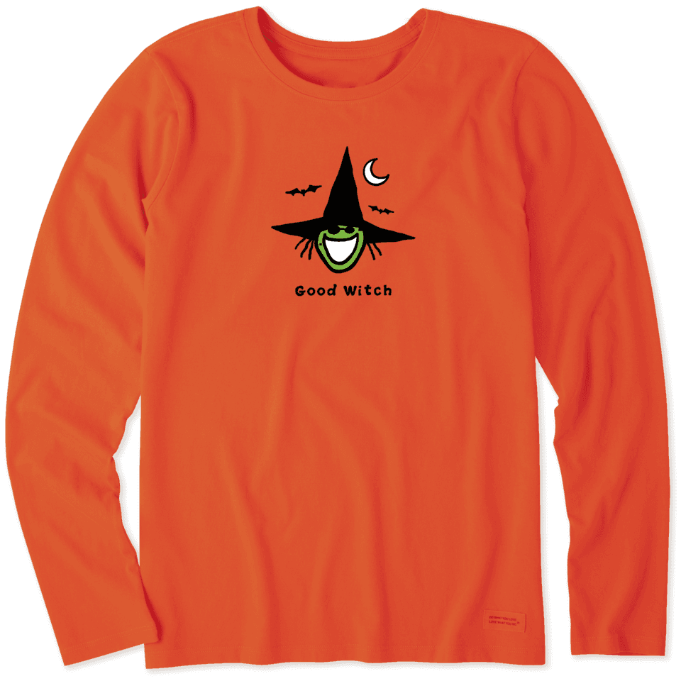 Life is Good Women's Good Witch Long Sleeve Vintage Crusher Tee XS Deep Orange