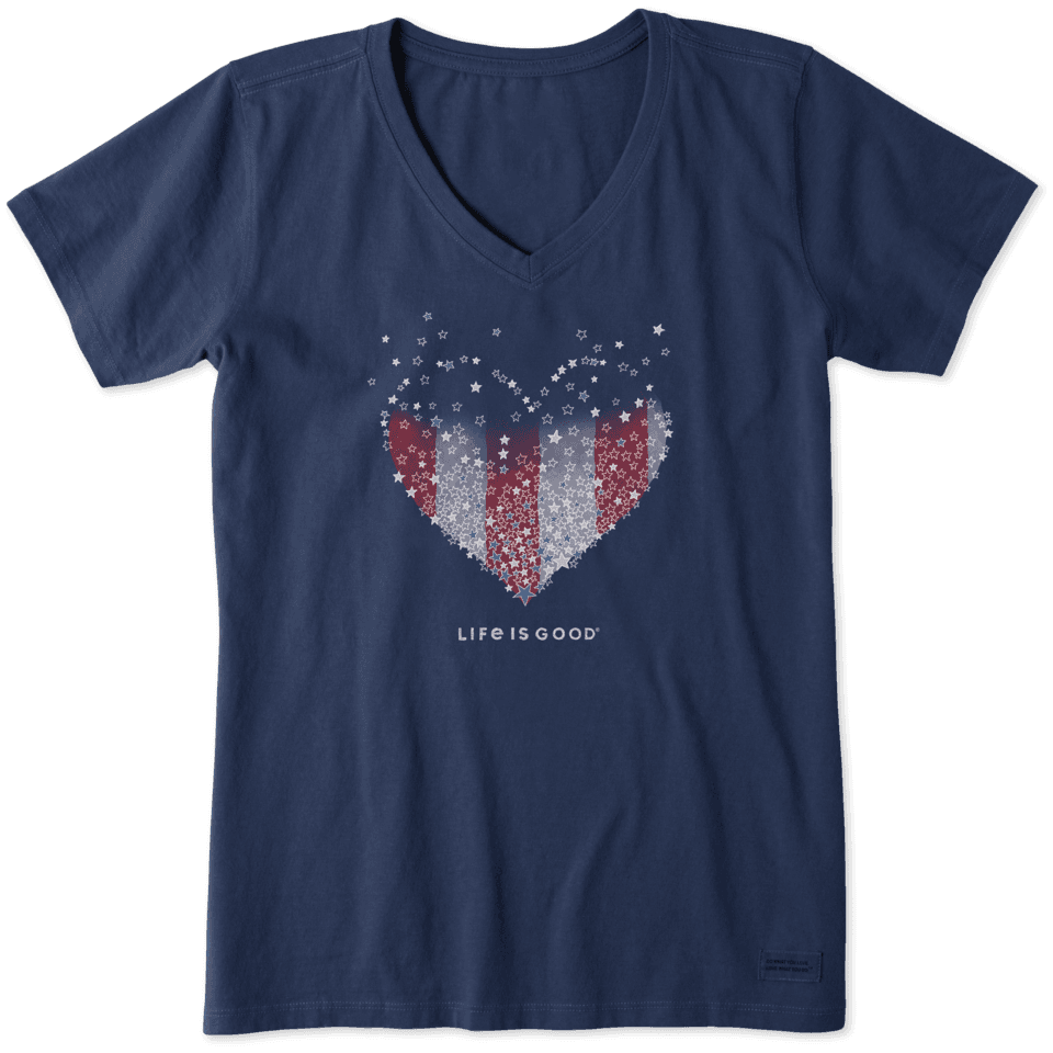 Life is Good Women's Heart Stars and Stripes Crusher Vee XXXL Darkest Blue
