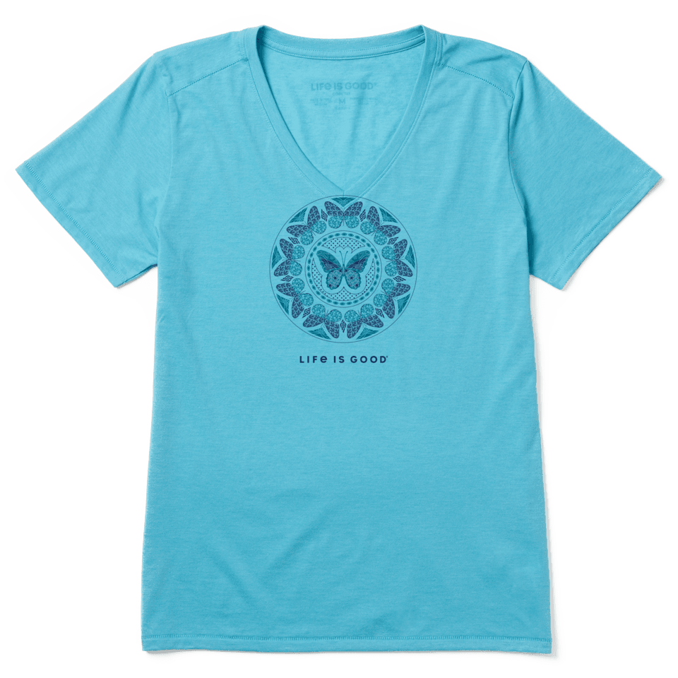 Life is Good Women's LIG Butterfly Coin Cool Vee M Coastal Blue
